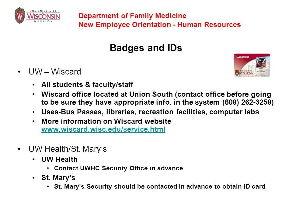 Badges and IDs UW – Wiscard UW Health/St. Mary's