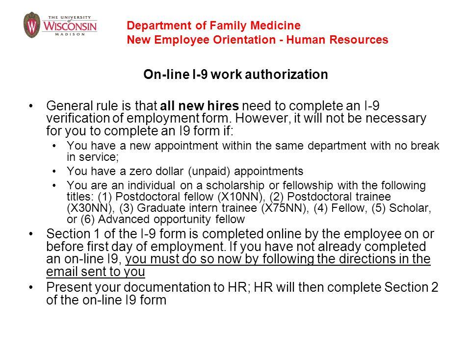 On-line I-9 work authorization