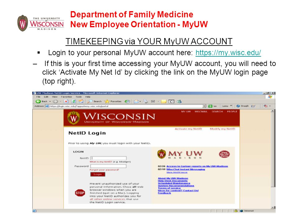 Department of Family Medicine New Employee Orientation - MyUW