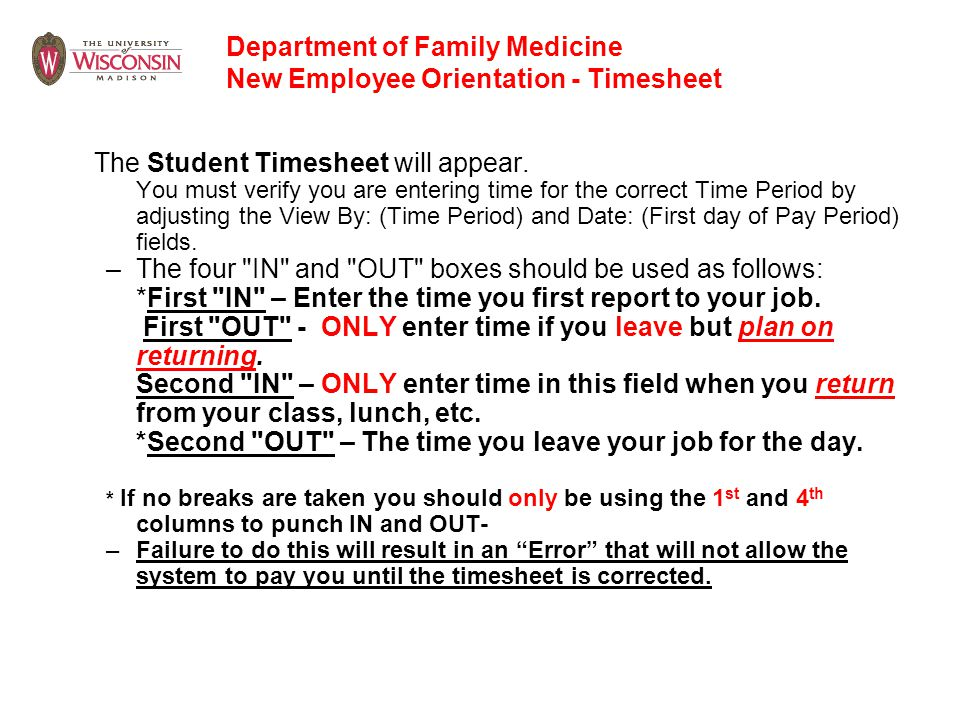 Department of Family Medicine New Employee Orientation - Timesheet
