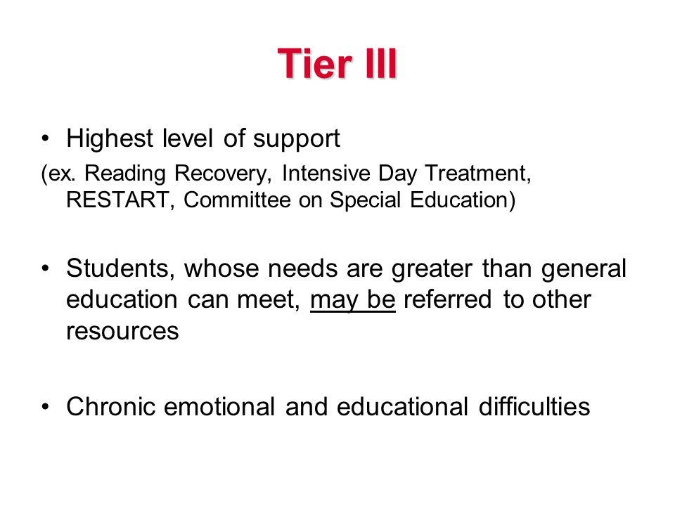 Tier III Highest level of support