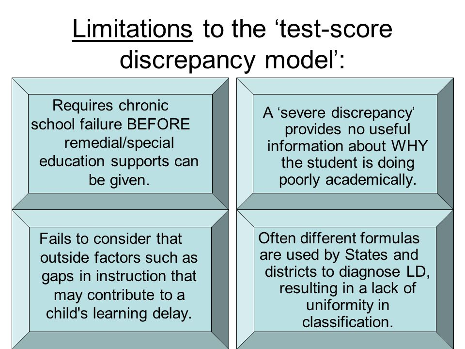 Limitations to the 'test-score discrepancy model':
