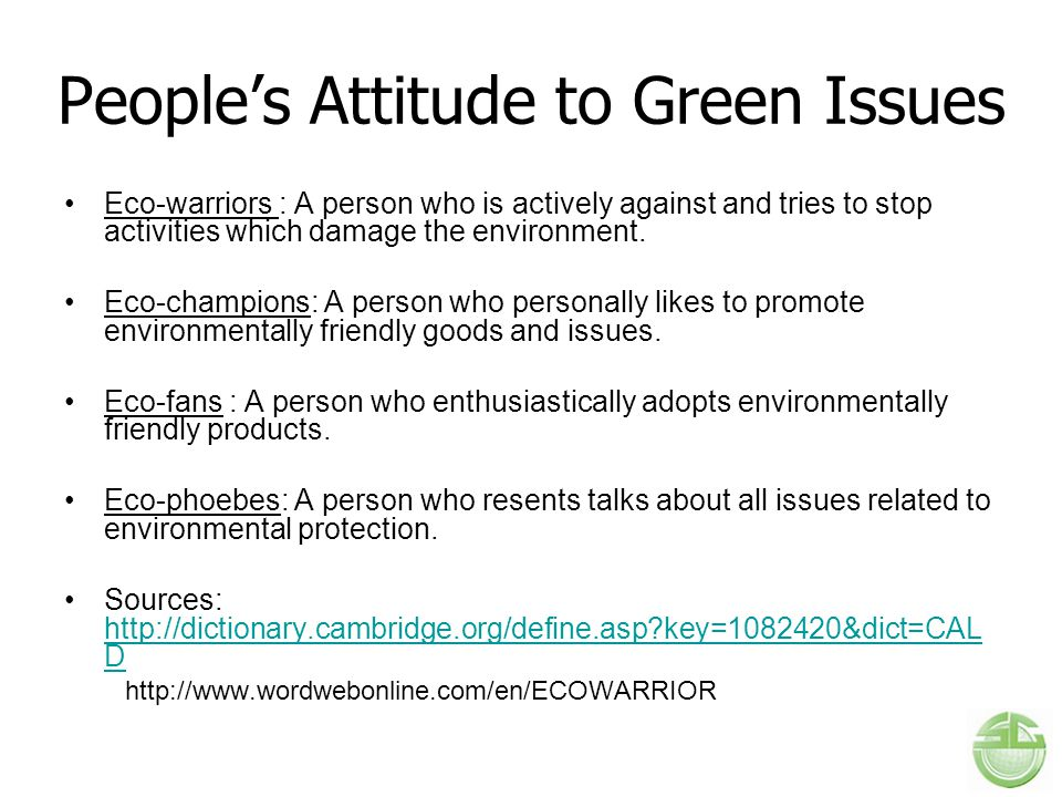 People's Attitude to Green Issues