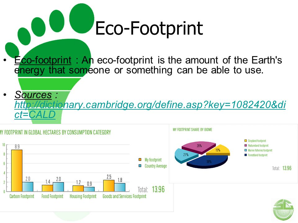 Eco-Footprint Eco-footprint : An eco-footprint is the amount of the Earth s energy that someone or something can be able to use.