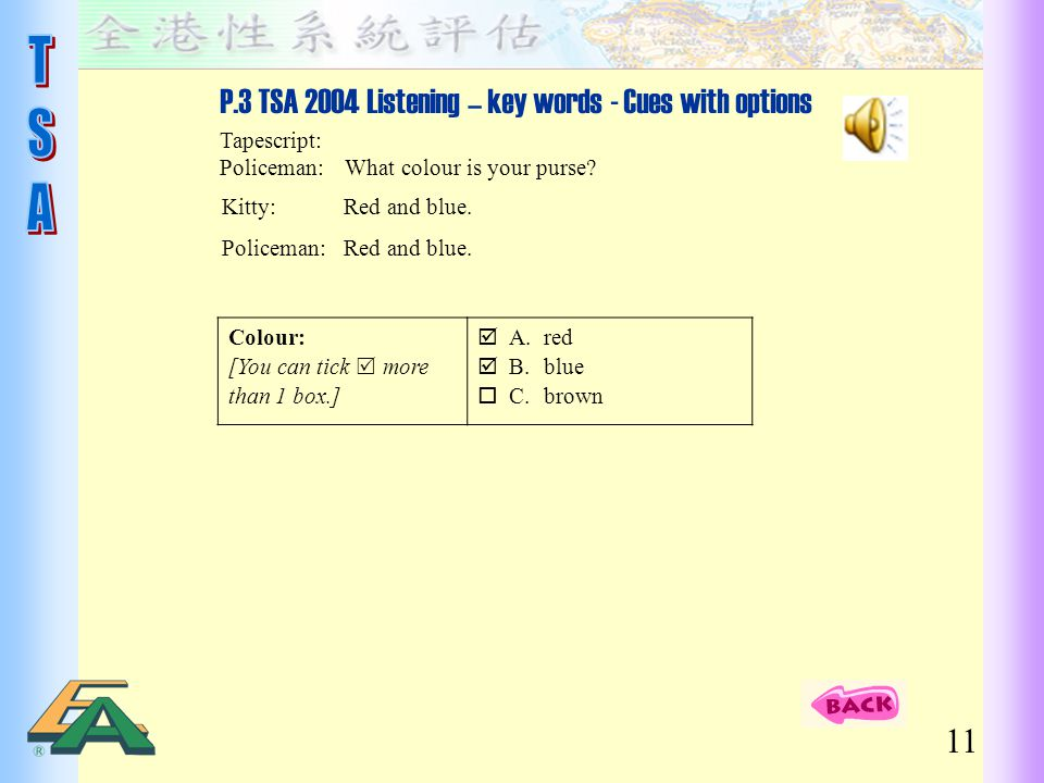 P.3 TSA 2004 Listening – key words - Cues with options