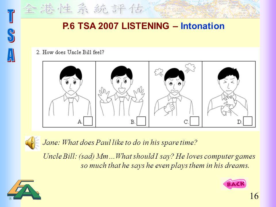 P.6 TSA 2007 LISTENING – Intonation