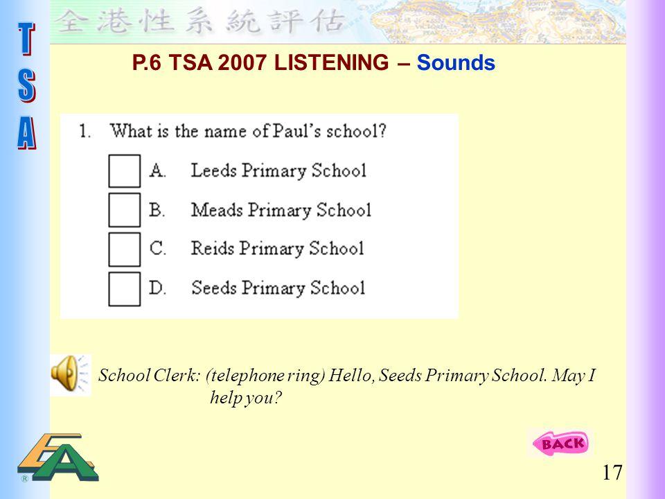 P.6 TSA 2007 LISTENING – Sounds