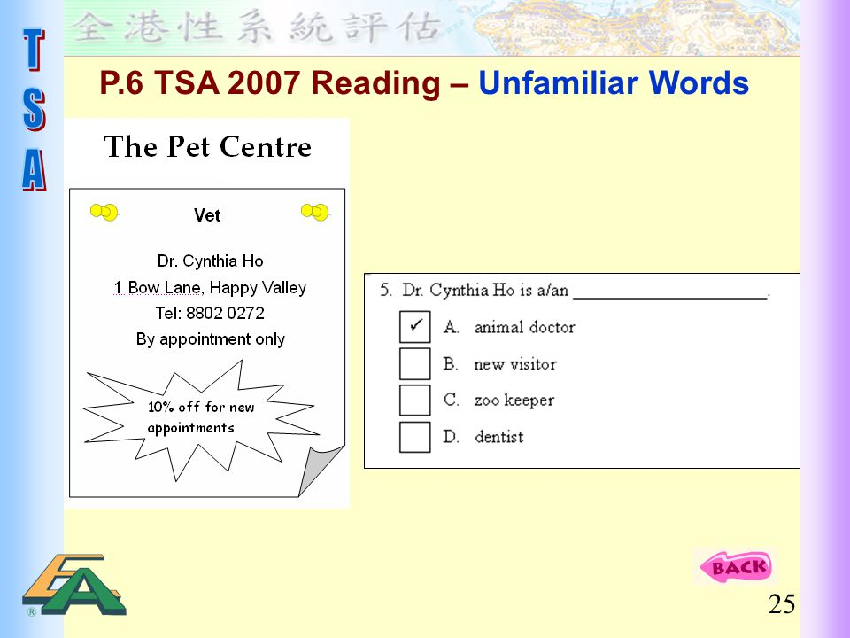 P.6 TSA 2007 Reading – Unfamiliar Words