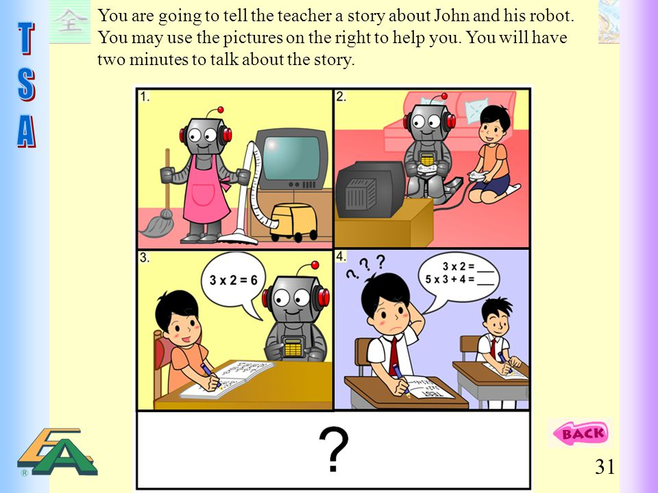 You are going to tell the teacher a story about John and his robot