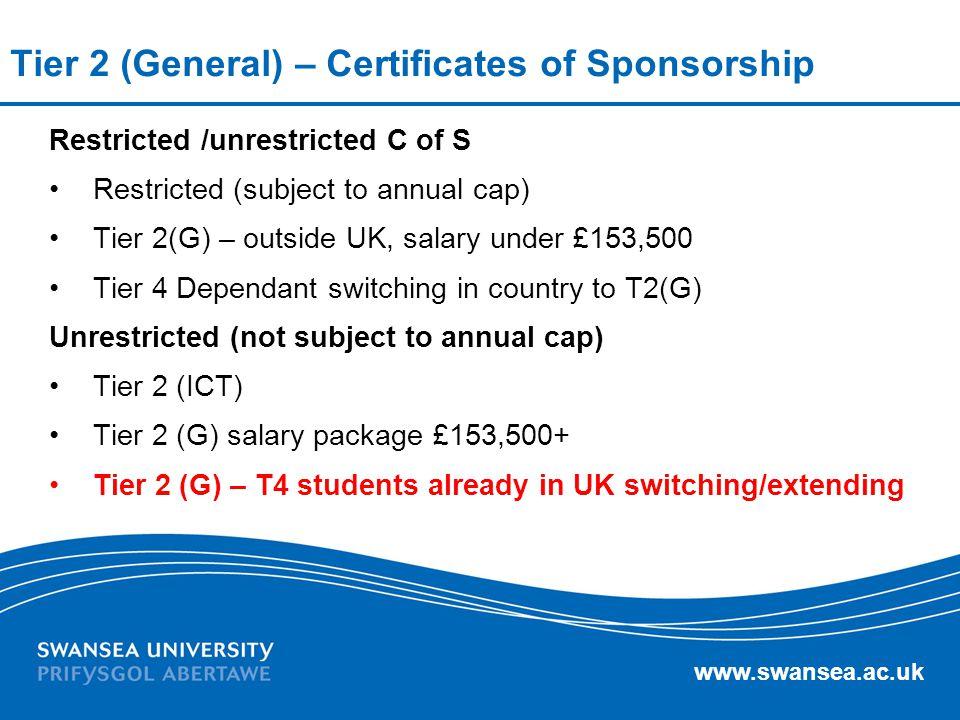 Tier 2 (General) – Certificates of Sponsorship