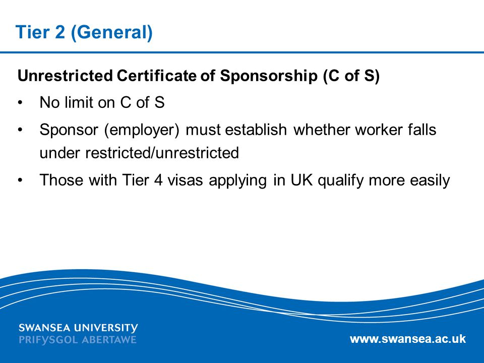 Tier 2 (General) Unrestricted Certificate of Sponsorship (C of S)