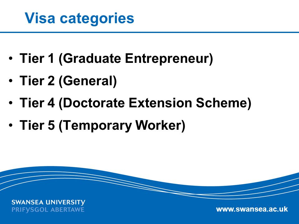 Visa categories Tier 1 (Graduate Entrepreneur) Tier 2 (General)