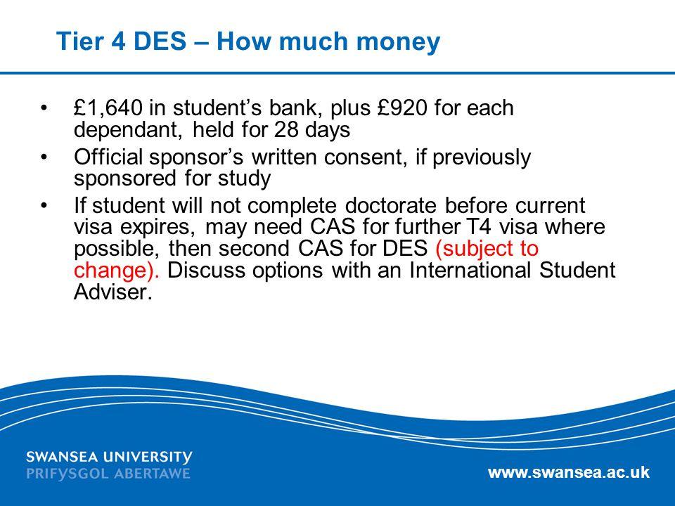 Tier 4 DES – How much money