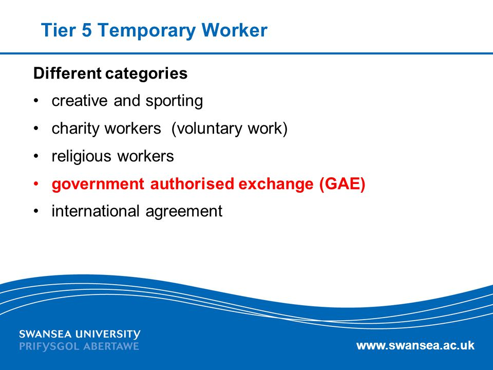 Tier 5 Temporary Worker Different categories creative and sporting