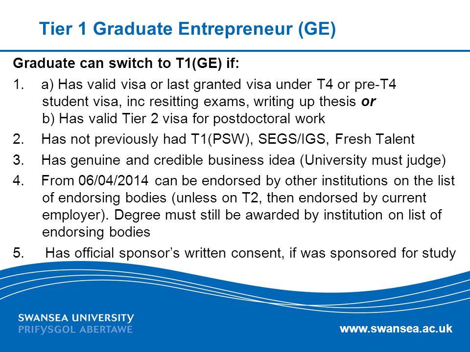 Tier 1 Graduate Entrepreneur (GE)