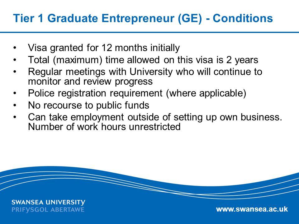 Tier 1 Graduate Entrepreneur (GE) - Conditions