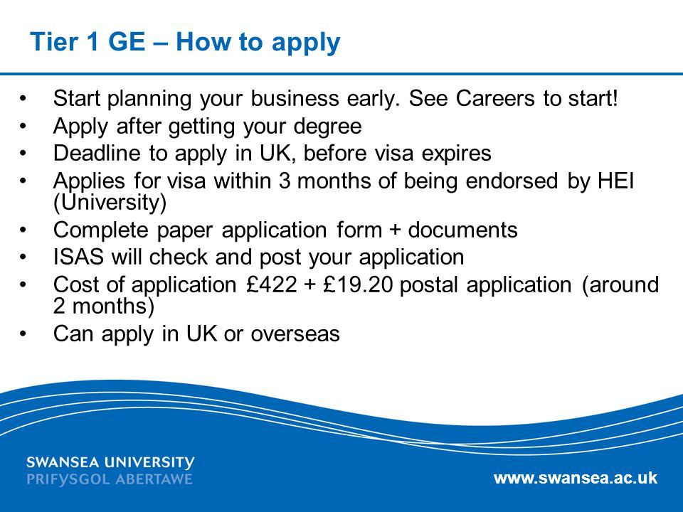 Tier 1 GE – How to apply Start planning your business early. See Careers to start! Apply after getting your degree.