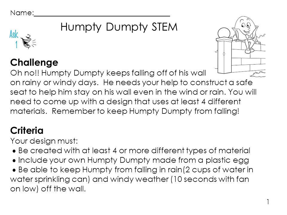 Humpty Dumpty STEM Challenge Criteria