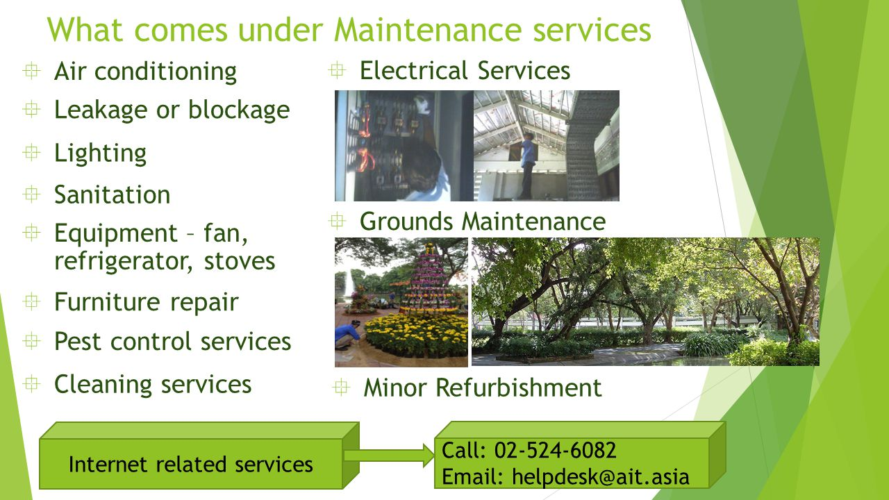 What comes under Maintenance services