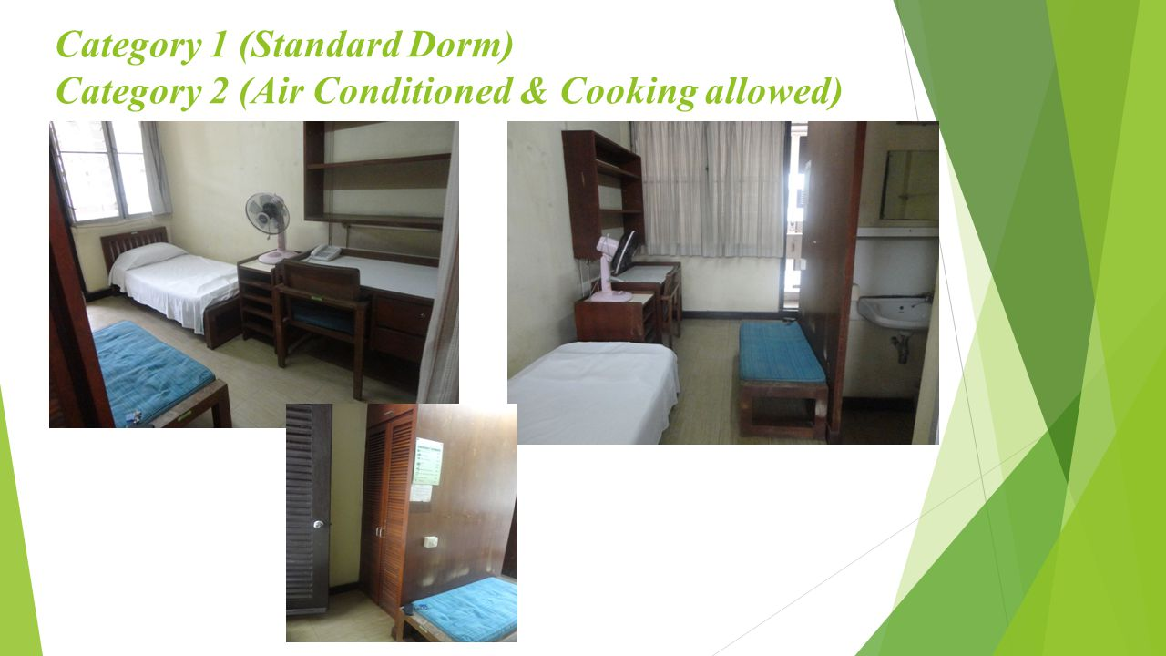 Category 1 (Standard Dorm) Category 2 (Air Conditioned & Cooking allowed)