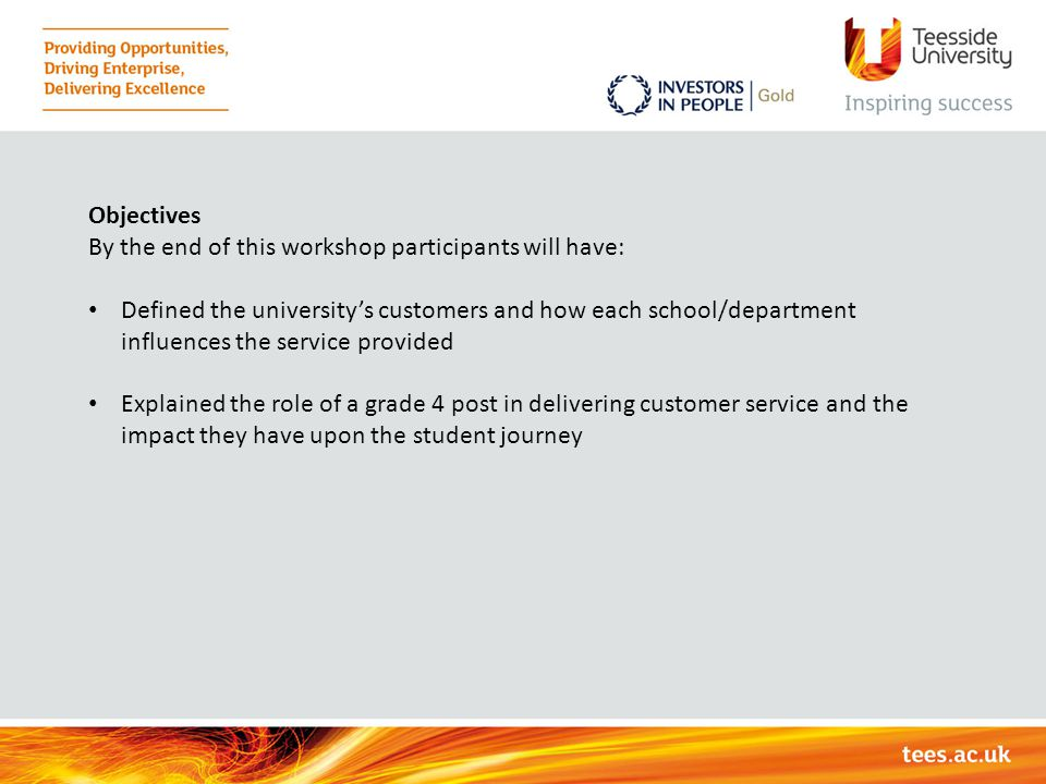 Objectives By the end of this workshop participants will have: