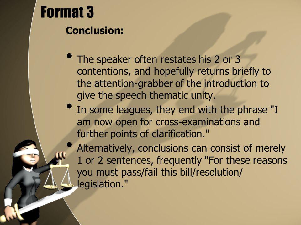 Format 3 Conclusion: