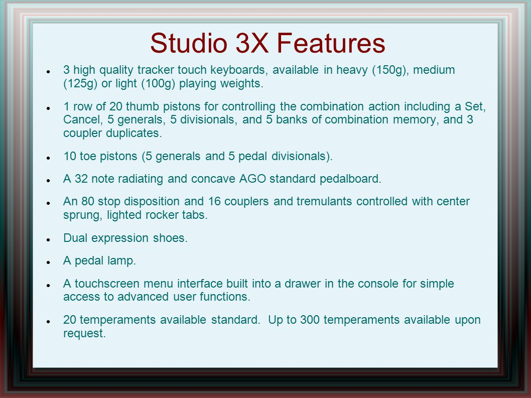 Studio 3X Features 3 high quality tracker touch keyboards, available in heavy (150g), medium (125g) or light (100g) playing weights.