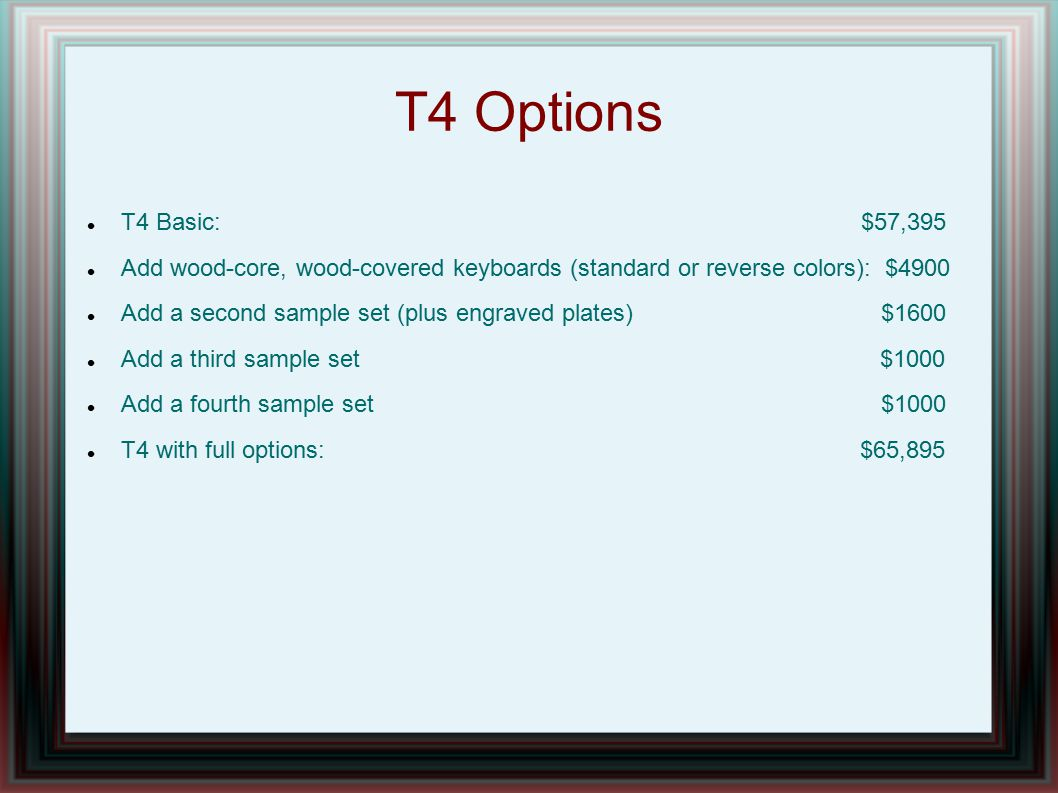 T4 Options T4 Basic: $57,395.