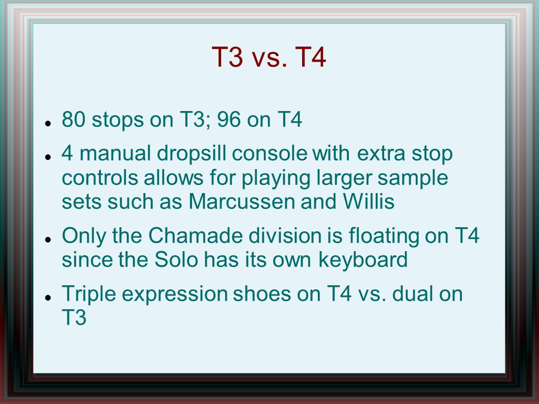 T3 vs. T4 80 stops on T3; 96 on T4.