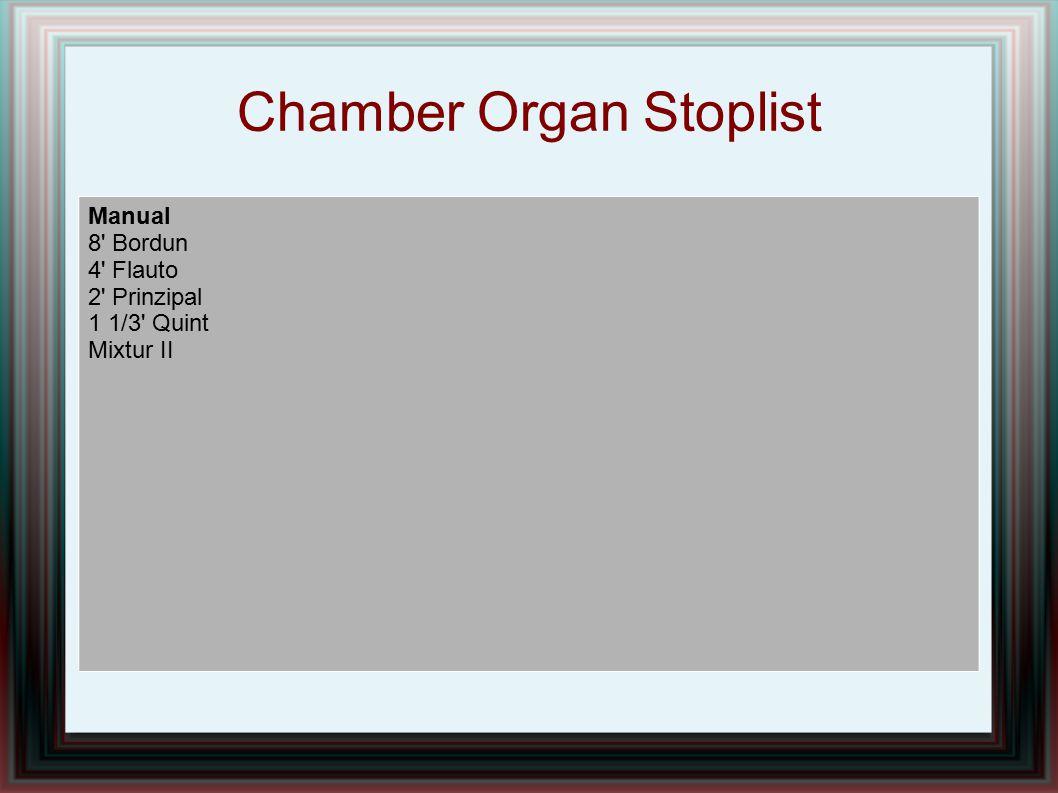 Chamber Organ Stoplist