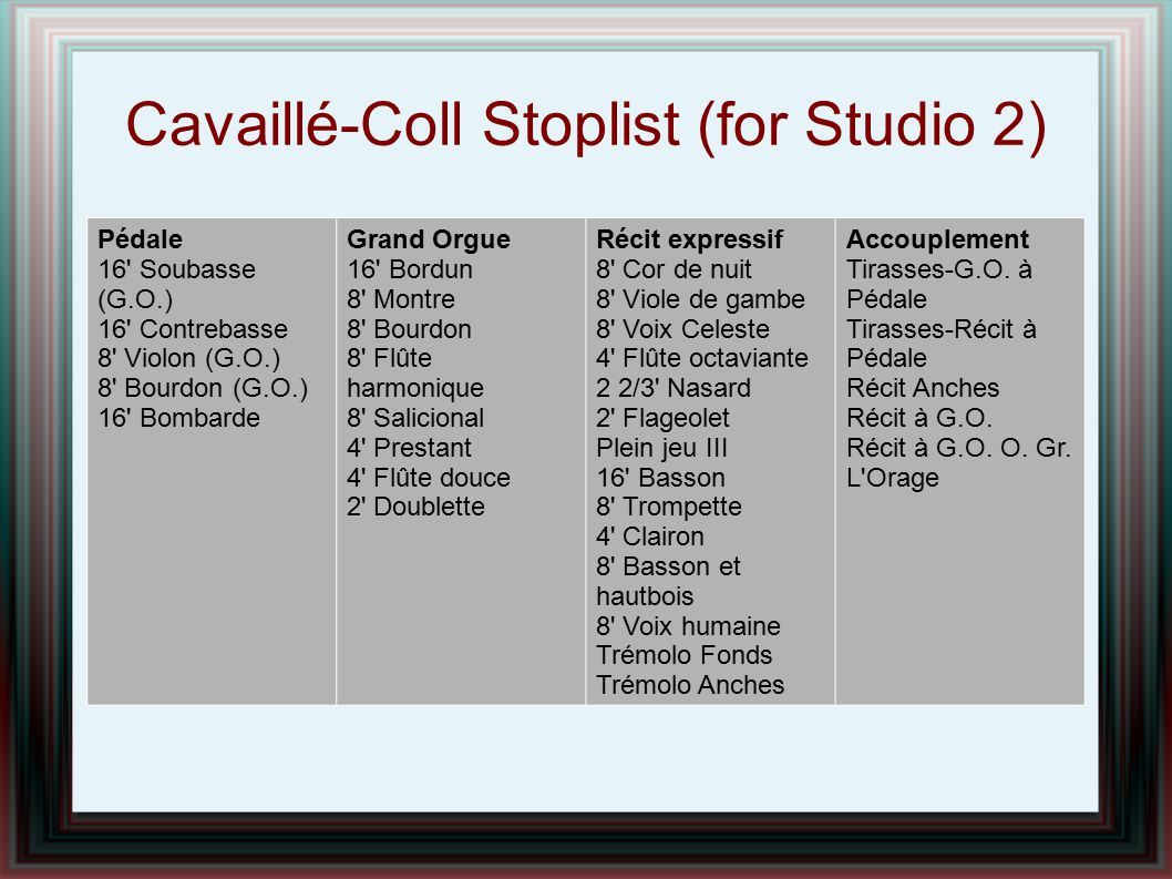 Cavaillé-Coll Stoplist (for Studio 2)