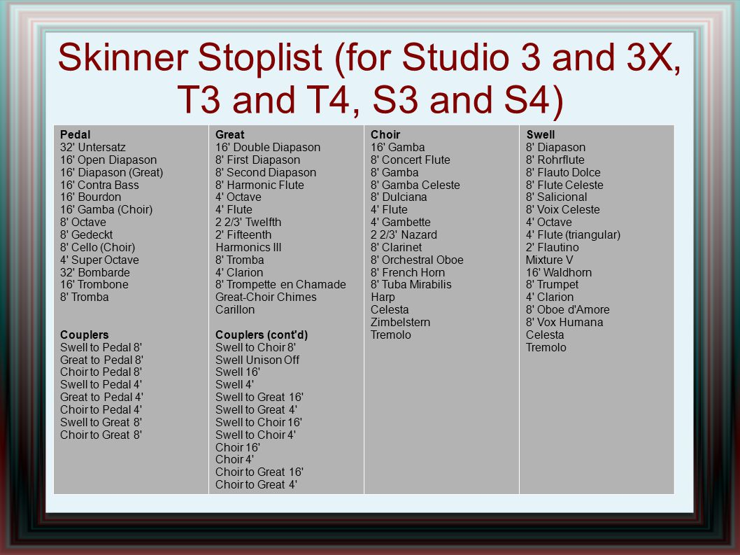Skinner Stoplist (for Studio 3 and 3X, T3 and T4, S3 and S4)
