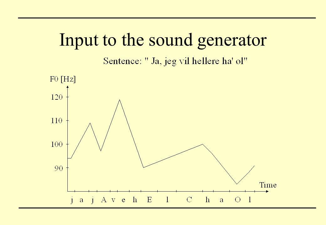 Input to the sound generator