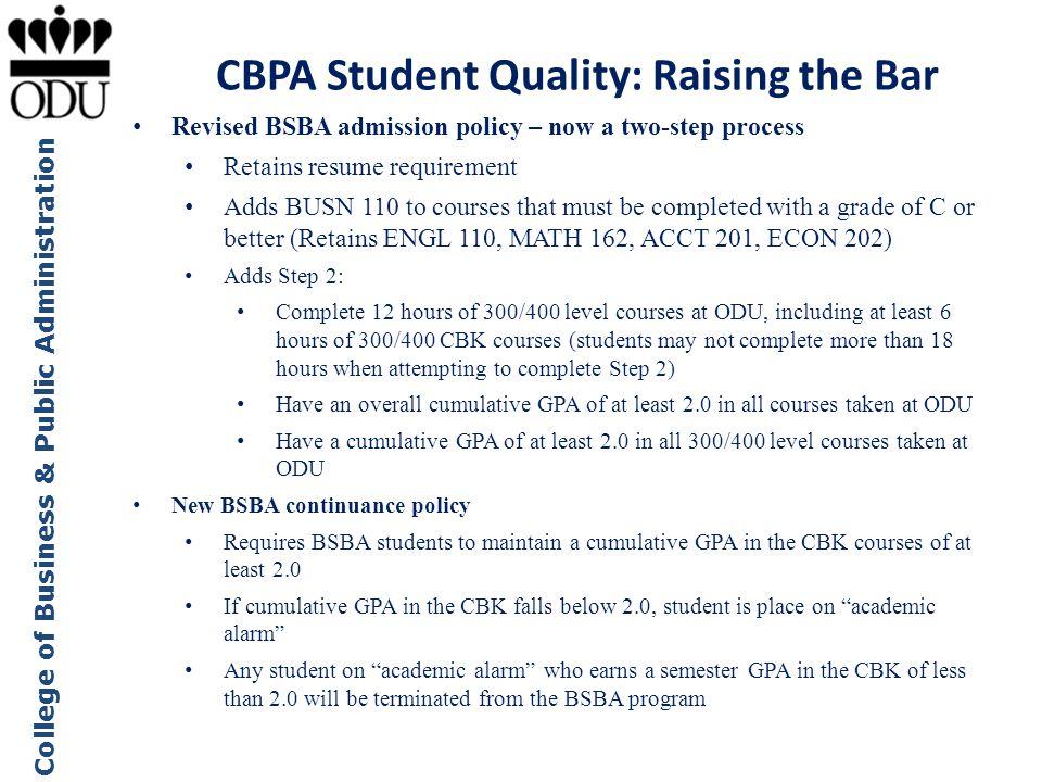CBPA Student Quality: Raising the Bar