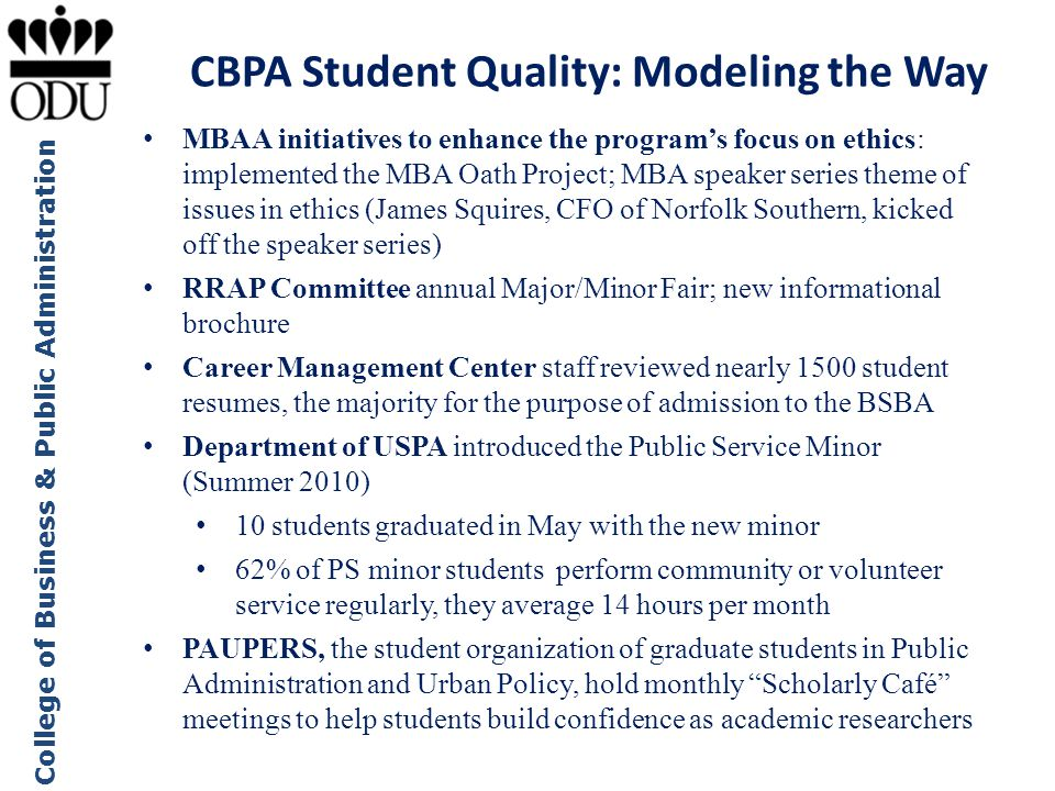 CBPA Student Quality: Modeling the Way