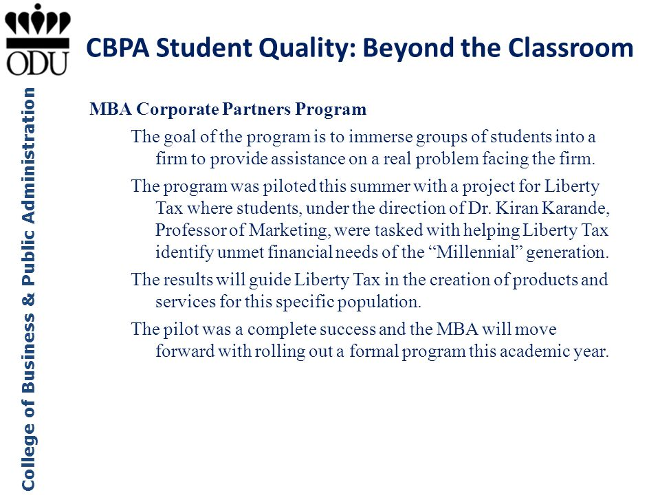 CBPA Student Quality: Beyond the Classroom
