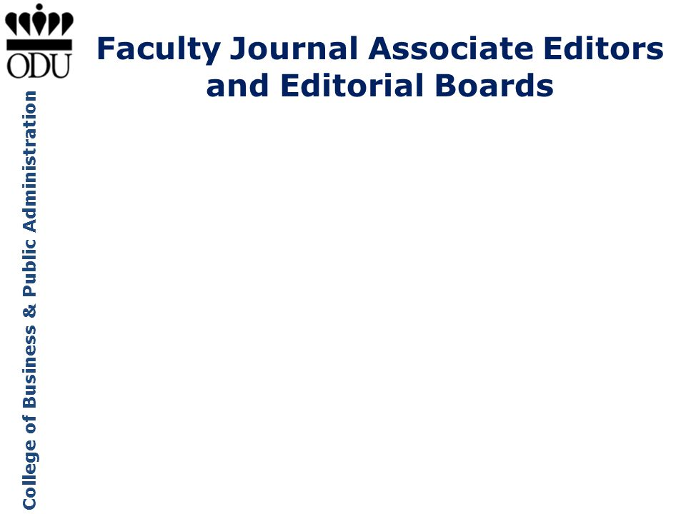 Faculty Journal Associate Editors and Editorial Boards