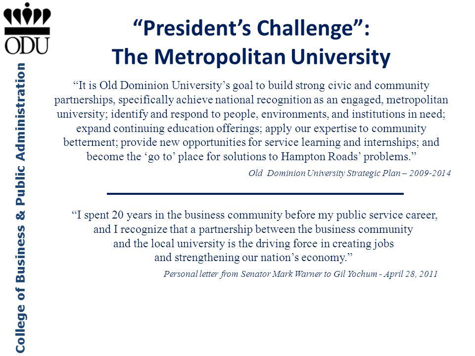 President's Challenge : The Metropolitan University