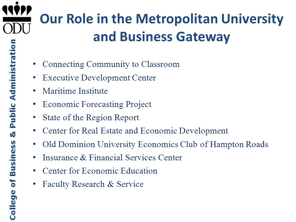 Our Role in the Metropolitan University and Business Gateway