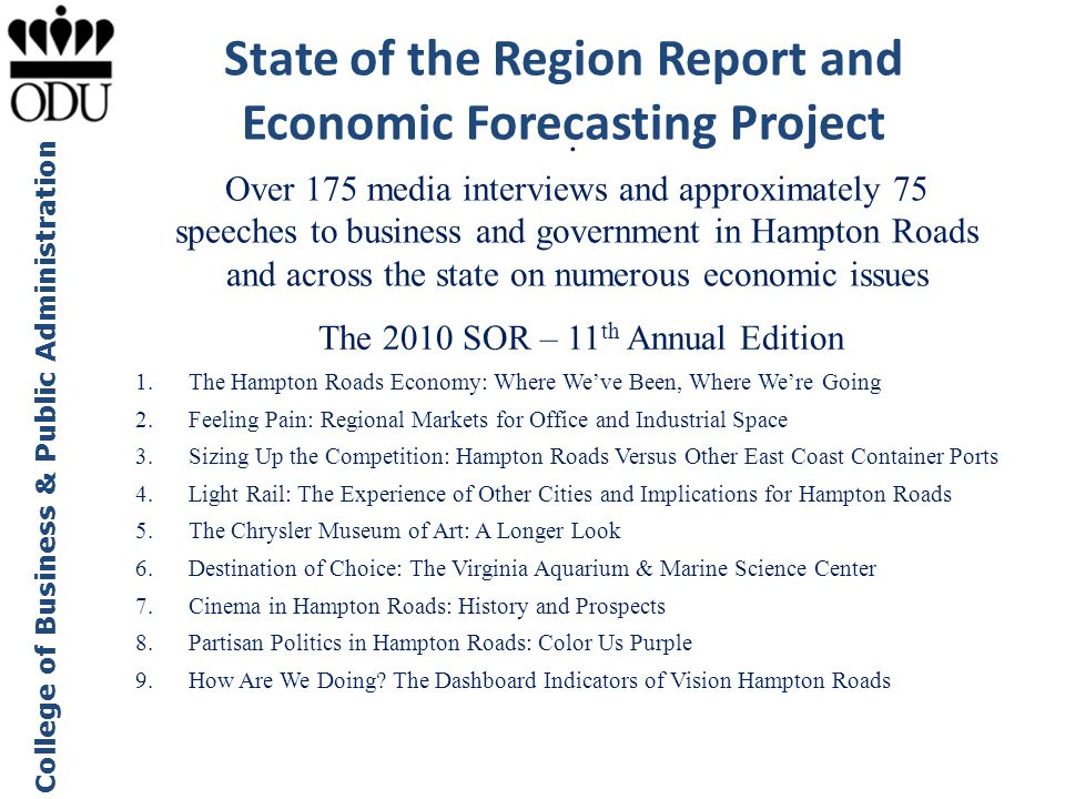 State of the Region Report and Economic Forecasting Project