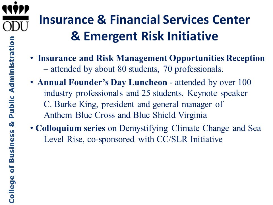 Insurance & Financial Services Center & Emergent Risk Initiative