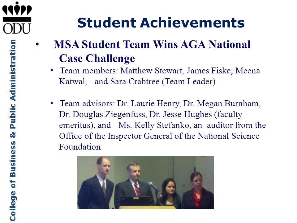 Student Achievements MSA Student Team Wins AGA National Case Challenge