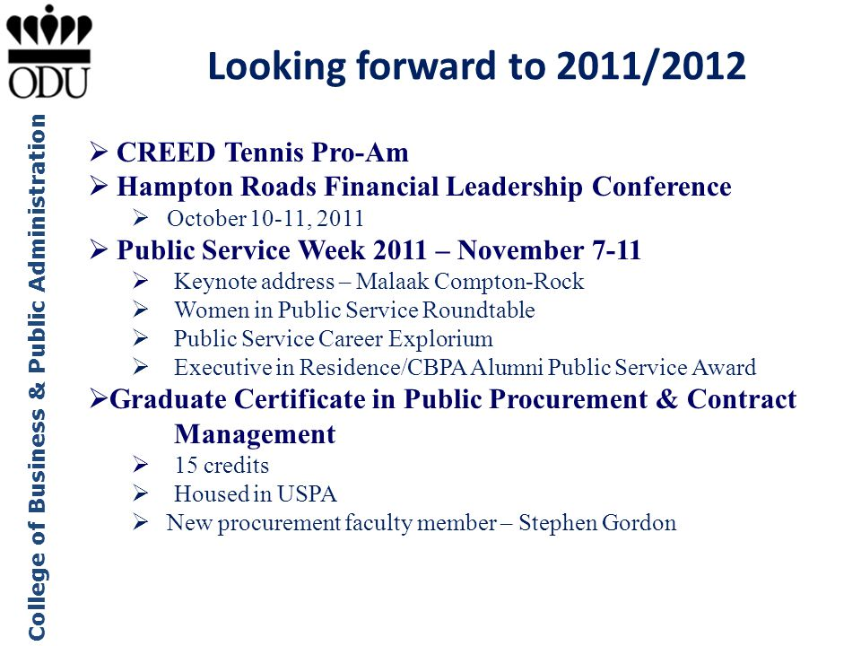Looking forward to 2011/2012 CREED Tennis Pro-Am