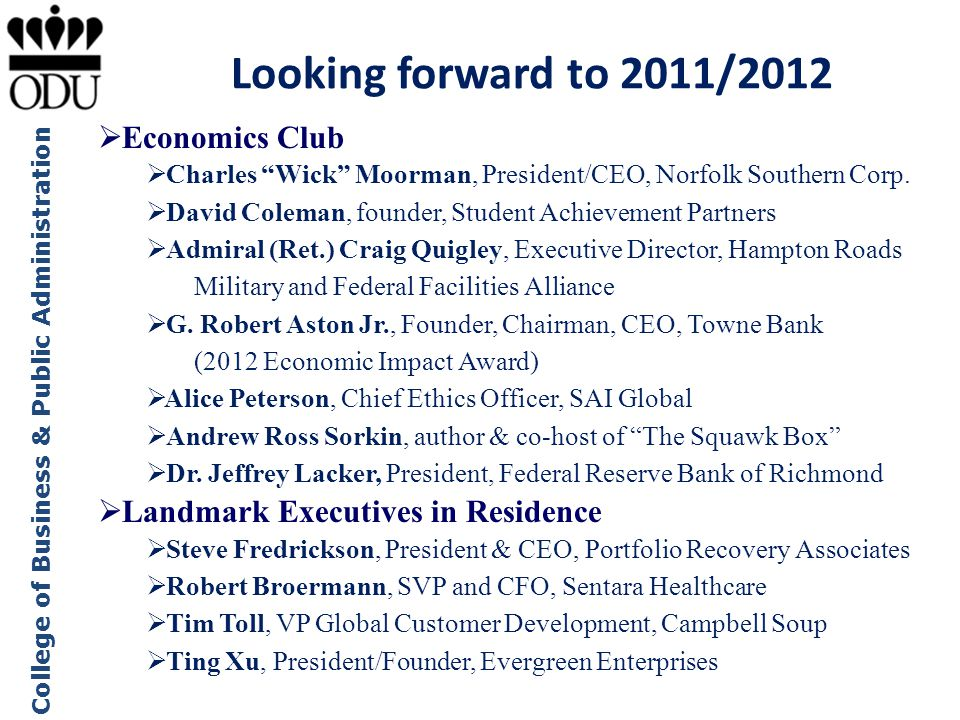 Looking forward to 2011/2012 Economics Club