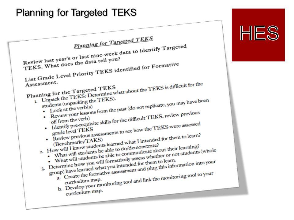 Planning for Targeted TEKS