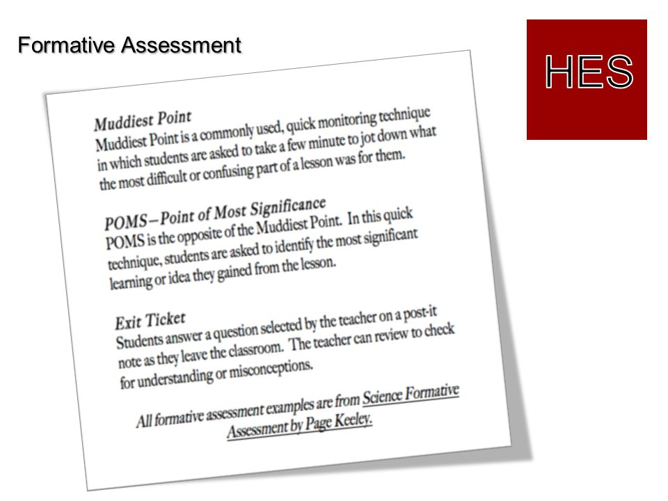 Formative Assessment HES Lisa: More Formative Assessment Tools