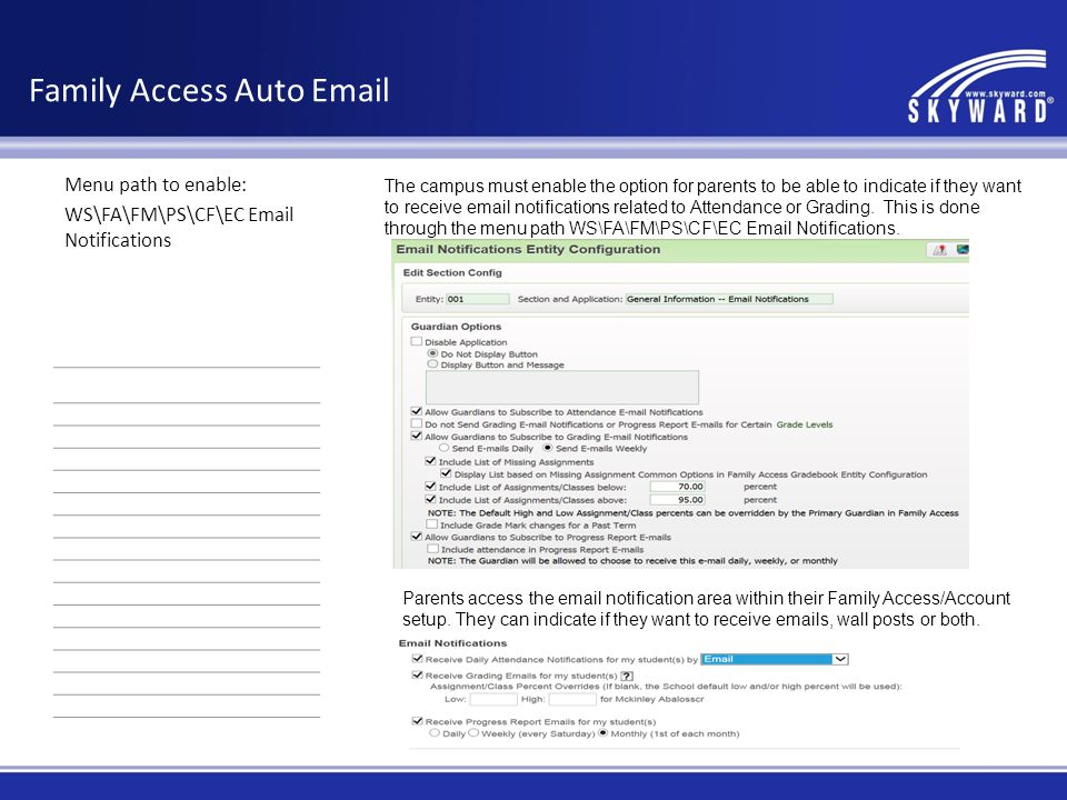 Family Access Auto Email