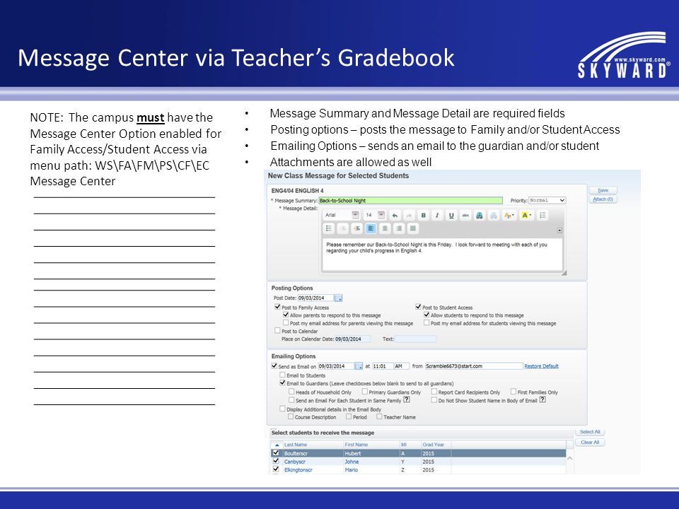 Message Center via Teacher's Gradebook