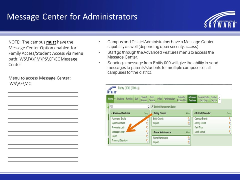 Message Center for Administrators