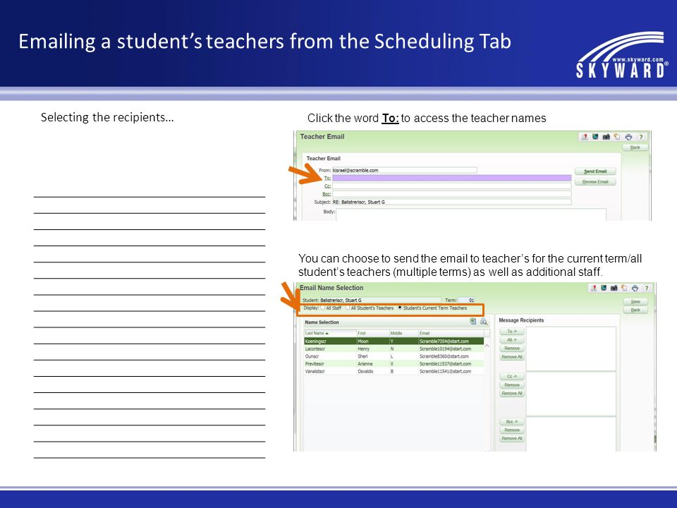 Emailing a student's teachers from the Scheduling Tab
